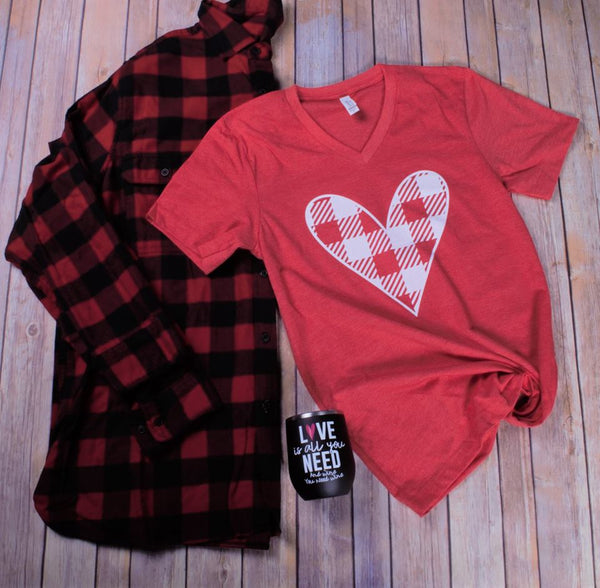 Red Plaid Heart Tee - Jourdan's Jewels