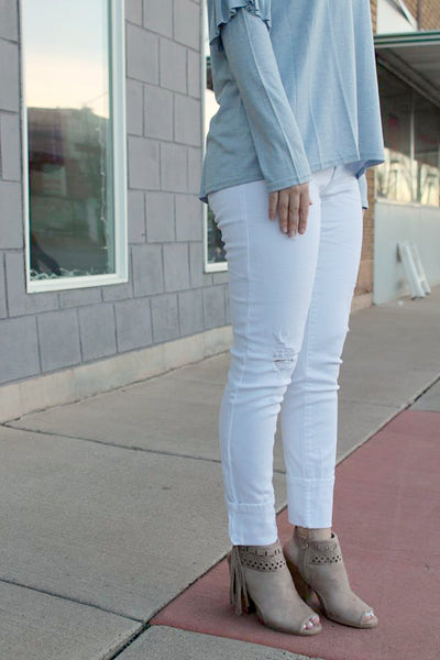 Distressed White Ankle Jeans - Jourdan's Jewels