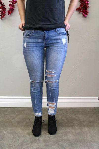 J's Jean - Distressed Medium Wash Skinny