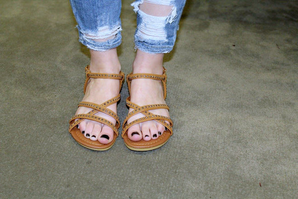 Studded Strappy Sandals - Camel - Jourdan's Jewels