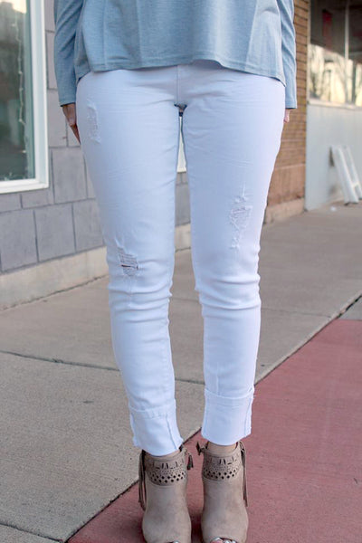 Distressed White Ankle Jeans
