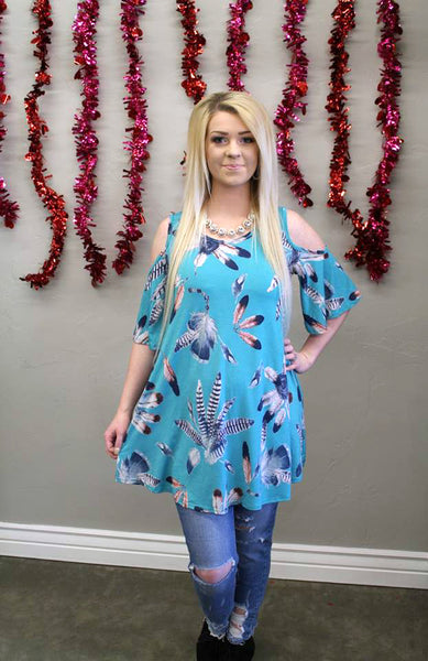 Feather Print Cold Shoulder Top - Blue - Jourdan's Jewels