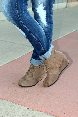 Patty Wedge Booties - Taupe - Size 5 & 7 - Jourdan's Jewels