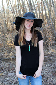 Black Floppy Hat with Bow