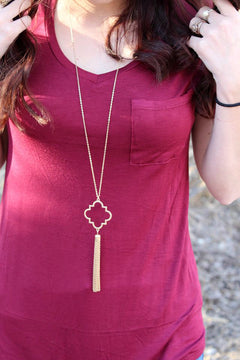 Quatrefoil Tassel Long Necklace - 2 Colors