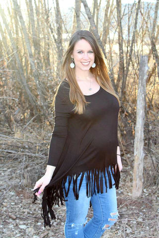 Black Fringe Long Sleeve Tunic