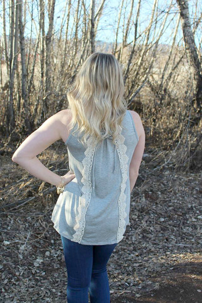 Grey Tank Top with Lace and Tie Up Back - Jourdan's Jewels