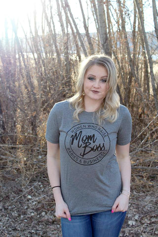 Mom Boss Tee - Grey - Jourdan's Jewels