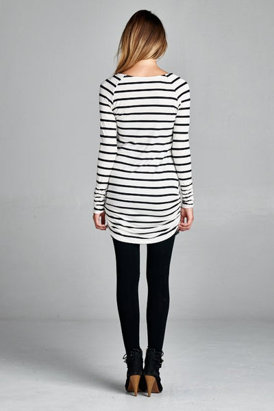 Black and White Shirred Long Sleeve Tunic - MEDIUM - Jourdan's Jewels