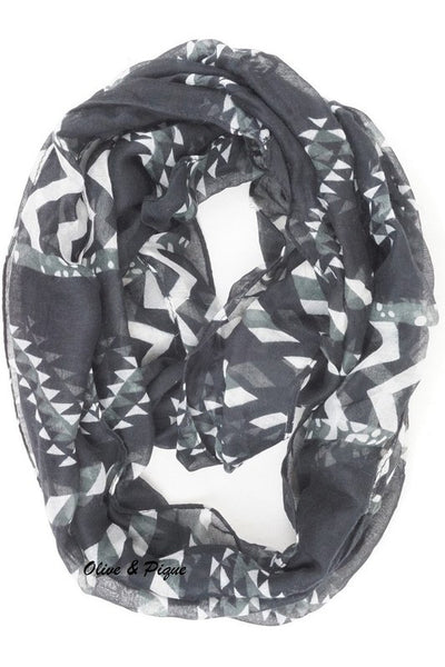 Black and White Aztec Scarf - Jourdan's Jewels