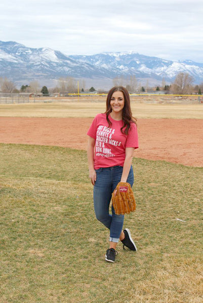 Red #BaseballLife Tee - Jourdan's Jewels