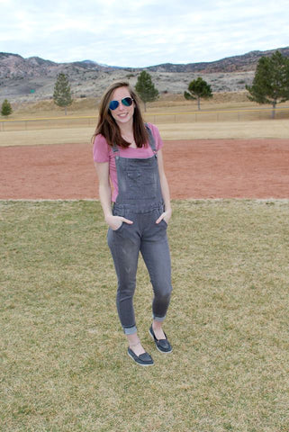 Grey Denim Overalls - LARGE - Jourdan's Jewels
