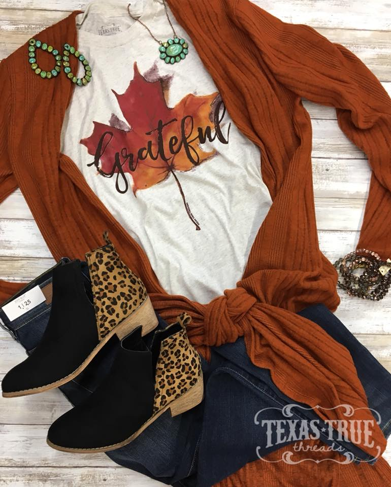 Grateful Thanksgiving Leaf Tee - Jourdan's Jewels