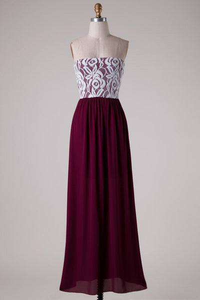 Brittney Tube Top Maxi Dress - White and Burgundy