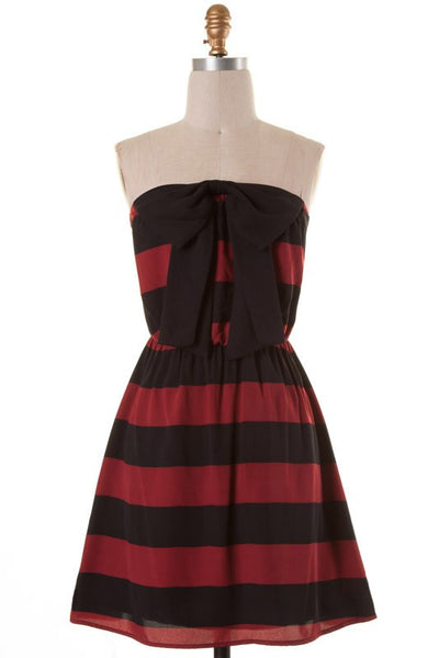 Connie Tube Top Striped Bow Dress - Burgundy and Black