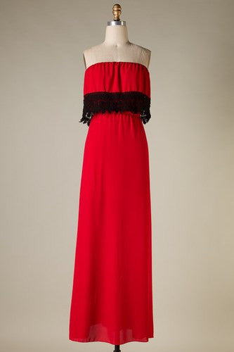 Danyelle Tube Top Maxi Dress - Red with Black Lace - Jourdan's Jewels