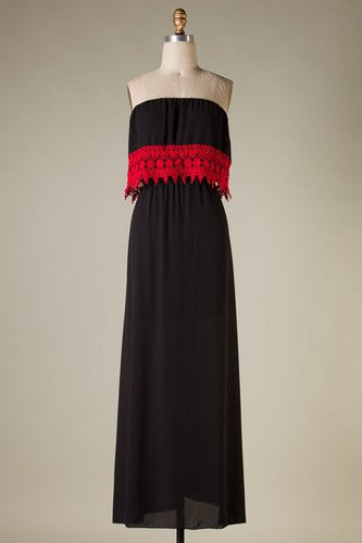 Danyelle Tube Top Maxi Dress - Black with Red Lace - Jourdan's Jewels