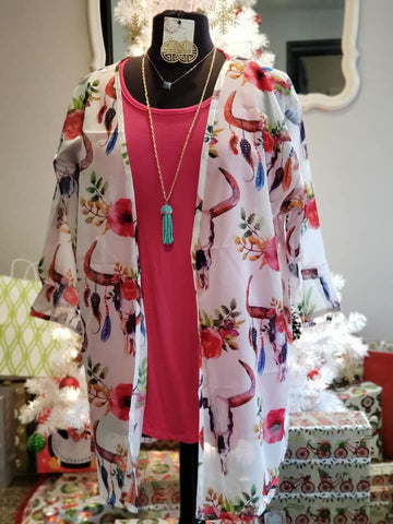 Floral Bull Skull Sheer Kimono - Jourdan's Jewels