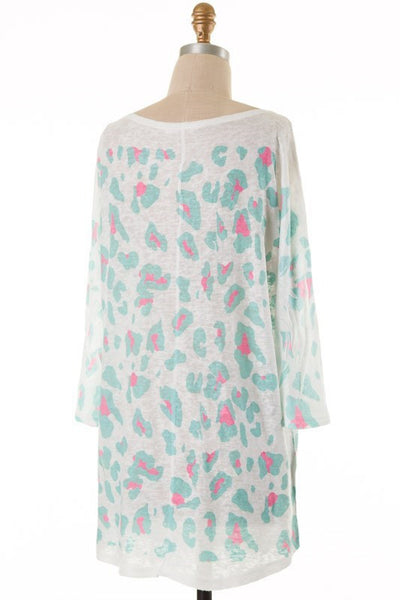 Quincy Leopard Print Quarter Sleeve - Mint and Pink