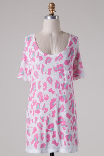 Maci Leopard Print Short Sleeve - Pink and Mint - Jourdan's Jewels