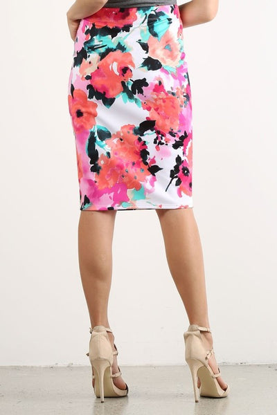 Watercolor Floral Pencil Skirt