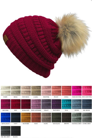 CC Furry Pom Beanie - 3 Colors! - Jourdan's Jewels