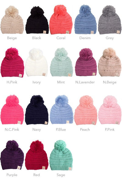 CC Pom Beanie - Kids & Adult - Many Colors! - Jourdan's Jewels