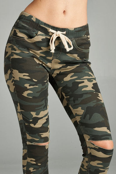 Camo Jeggings with Slit Knees