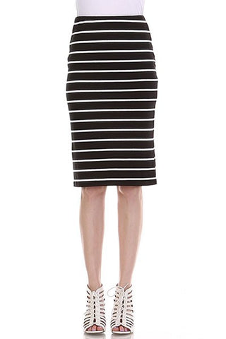 Striped Midi Skirt - Black/White - Jourdan's Jewels
