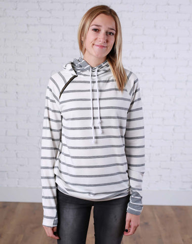 Grey and White Stripes Double Hoodie - Jourdan's Jewels