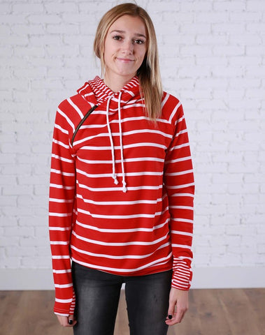 Red and White Stripes Double Hoodie - LARGE - Jourdan's Jewels