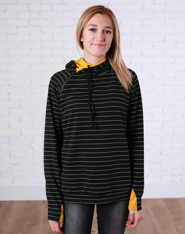 Black and White Stripes with Mustard Double Hoodie - Jourdan's Jewels