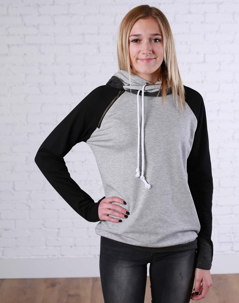 Black and Grey Block Double Hoodie - LARGE - Jourdan's Jewels