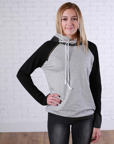 Black and Grey Block Double Hoodie - Jourdan's Jewels