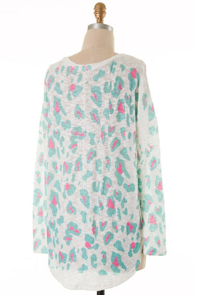 Maci Leopard Print Long Sleeve - Mint and Pink