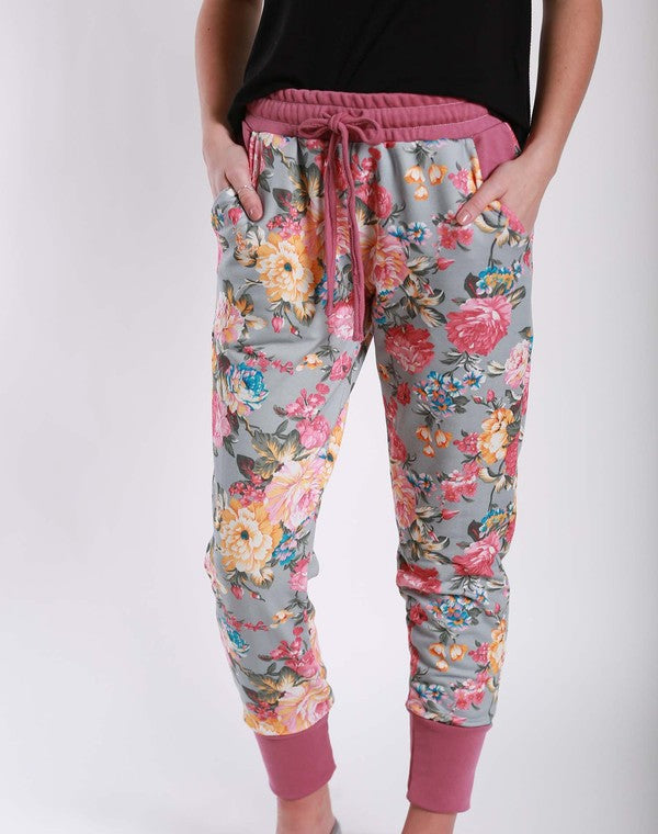 Mauve Floral Joggers - Jourdan's Jewels