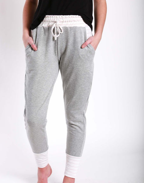Grey Joggers with Mauve Pin Stripe - Jourdan's Jewels