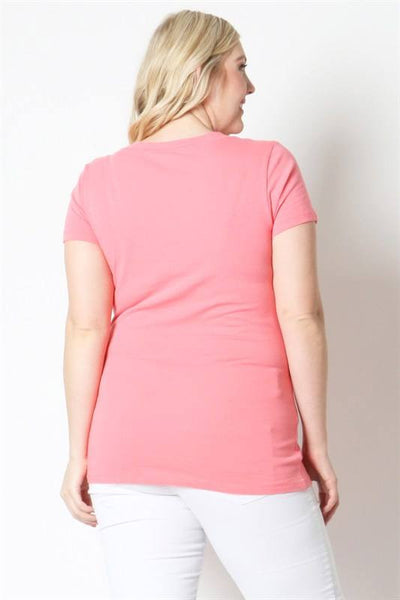 Basic V-Neck Tee in Coral - Plus