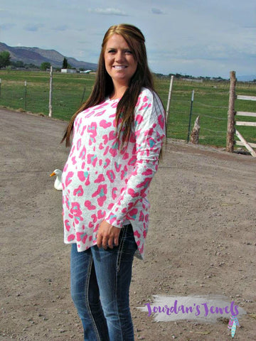 Maci Leopard Print Long Sleeve - Hot Pink and Mint