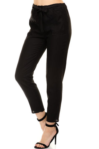 Black Paper Bag Waist Pants - Jourdan's Jewels