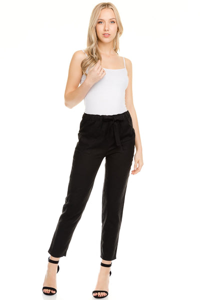 Black Paper Bag Waist Pants - LARGE - Jourdan's Jewels