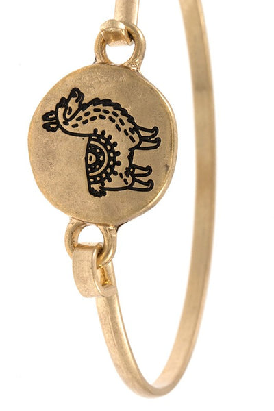 Gold Etched Llama Bangle Bracelet - Jourdan's Jewels