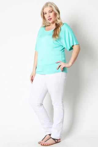 Sasha Scoop Neck in Mint - Plus