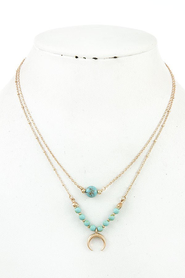 Gold Crescent Moon Horn Necklace - Turquoise