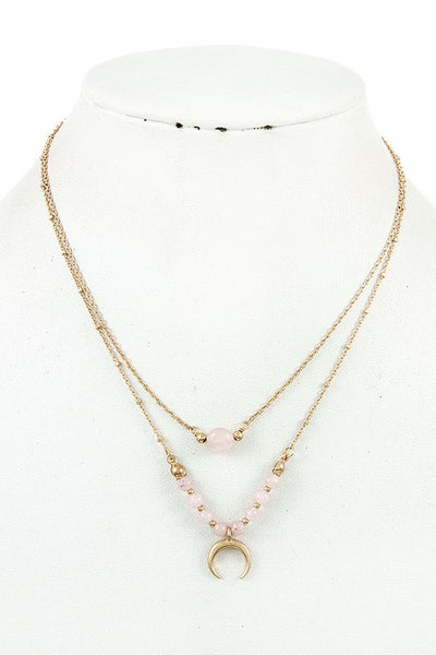 Gold Crescent Moon Horn Necklace - Light Pink - Jourdan's Jewels