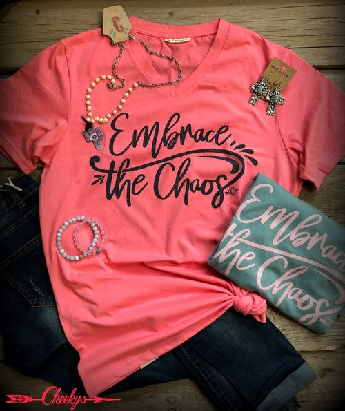 Embrace the Chaos Tee - Coral - Jourdan's Jewels