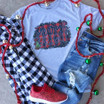 Merry & Bright Christmas Tee - LARGE