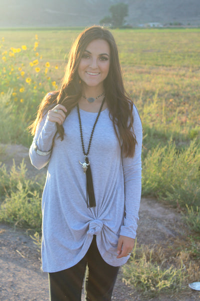 Grey Long Sleeve Tunic with Pockets - Jourdan's Jewels