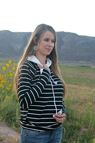 Black and White Stripes Double Hoodie - SMALL - Jourdan's Jewels