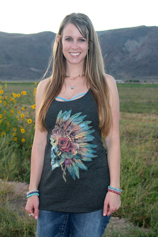 Feather Skull Tank Top - SMALL - Jourdan's Jewels